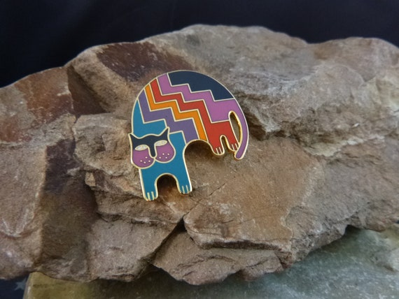 "Laurel Burch ""Aztec Cat"" Whimsical Cloisonné Enamel Vintage Pin / Brooch"