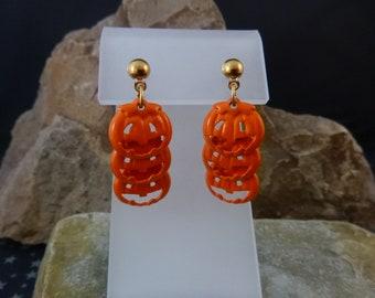 1995 Cute Halloween Jack O Lantern Triple Pumpkins Vintage Avon Pierced Earrings | Cut Out Dangling Orange Articulated Pumpkins Original Box