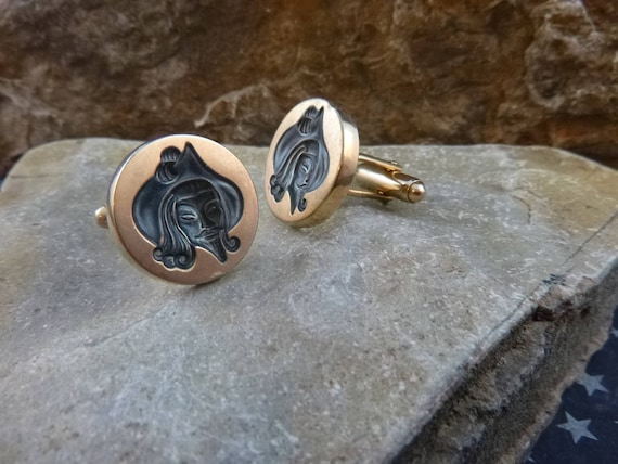 Musketeer Intaglio Anson Vintage Cuff Links | Renaissance Man Cameo Style Cuff Links
