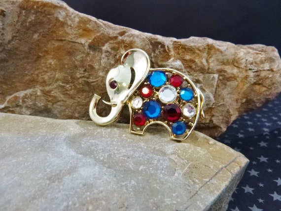 Republican Elephant Vintage Pin   Sparkly Red White and Blue Rhinestone Brooch   Trunk Up for Good Luck l980s GOP Pin   Book Piece