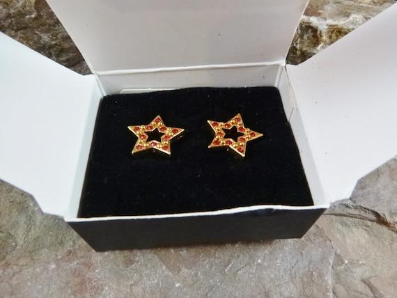 "1994 Red Avon ""Sparkle Star"" Vintage Pierced Earrings in Original Box | Patriotic Republican Red  Rhinestone Star Earrings | Book Piece"
