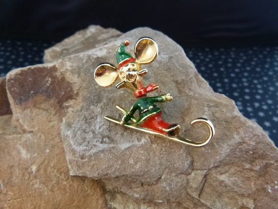 Holiday Mouse on Toboggan Pin Signed B.J. (Beatrix) Collectible Book Piece Christmas Brooch