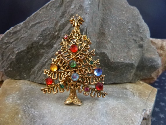 Hollycraft Christmas Tree Vintage Brooch | Rarely Found Open Bough with Multicolored Rhinestones Mid Century Holiday Pin | Book Piece