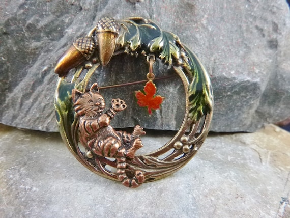 Changing Season Fall Vintage Mixed Metal Pin | Playful Raccoon with Acorns and Articulated Colorful Maple Leaf Circle Brooch