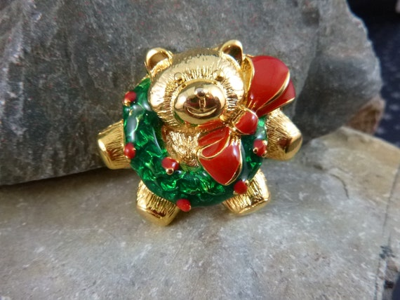 Teddy Bear Holiday Wreath Vintage Pin | Red and Green Whimsical Bear Brooch | New Old Stock (NOS)