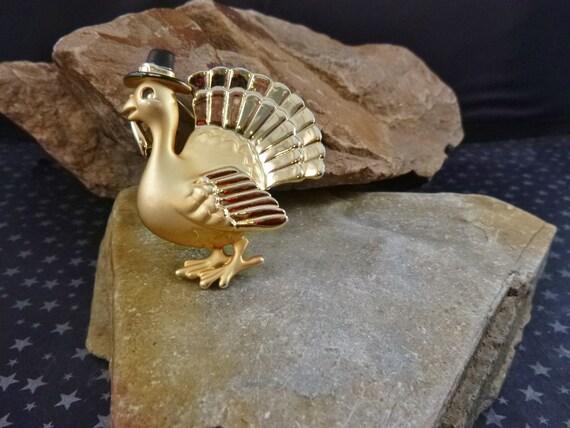 Thanksgiving Turkey with Pilgrim Hat Whimsical Vintage AJC Pin
