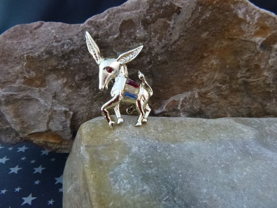 Democratic Donkey Vintage Red White and Blue Pin  | Political Party Affiliation
