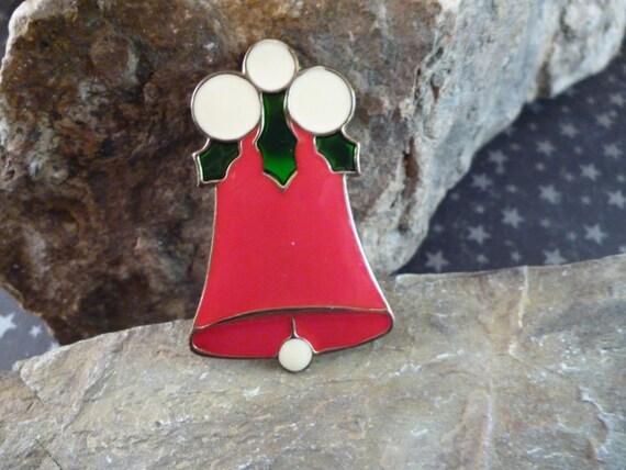 Tin Christmas Bell Vintage Metal and Enamel Holiday Pin