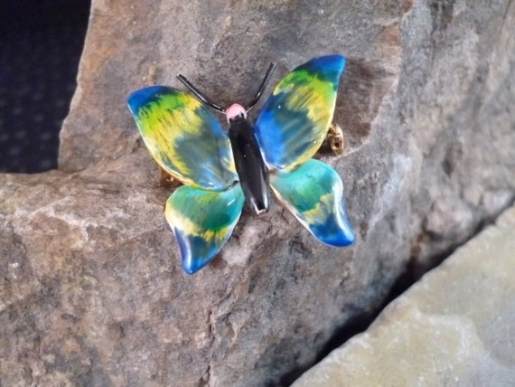 Vintage Original by Robert Blue Green Enamel Butterfly Pin circa l960s