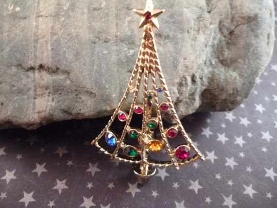 Vintage B.J. (Beatrix) Modern Open Style Christmas Tree Pin with Rhinestones Book Piece circa l975-l983