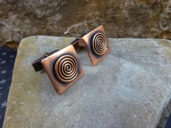 Mid Century Modernist Copper Spiral Cuff Links / Cufflinks circa l950s