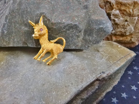 Support Democratic Women? Pink Eyed Democratic Donkey Figural Vintage Pin |  Democratic Symbol Small Political Donkey Pin