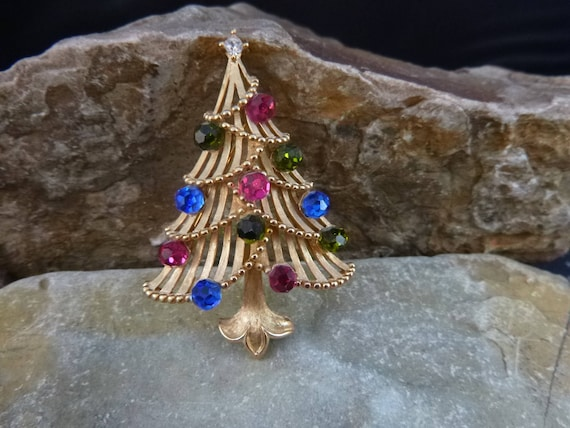 Crown Trifari Vintage Christmas Tree Brooch | Hot Pink Green and Blue Faceted Crystal Ball Ornaments | Book Piece