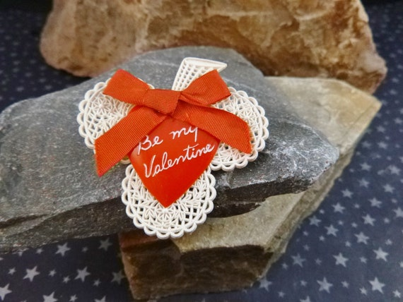 Irish Valentine Vintage Pin | Heart on Shamrock Brooch | Be My Valentine Red  Heart with White Shamrock Mid Century Pin