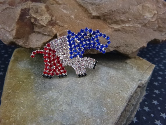 Patriotic Red White and Blue Rhinestone Republican Elephant Brooch | Sparkling Vintage Elephant Pin | Party Symbol