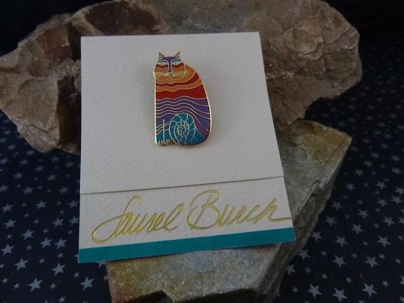"1986 Laurel Burch ""Rainbow Cat"" Vintage Cloisonné Enamel Brooch on Original Card | Unworn New Old Stock | Enchanting Cat Pin"