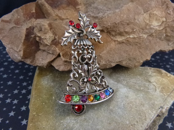 Beatrix Signed Large Vintage Christmas Bell Brooch with Bright Rhinestones | Holiday Bell Pin Pre 1975