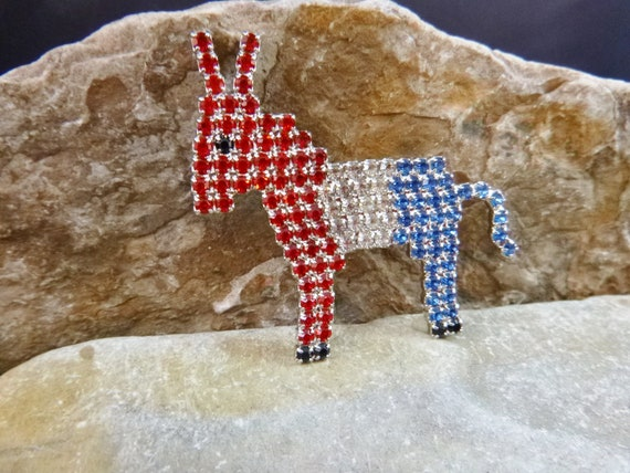 Patriotic Vintage Signed Dorothy Bauer Red White and Blue Swarovski Crystal Brooch    Democratic Sparkling Rhinestone Donkey Pin