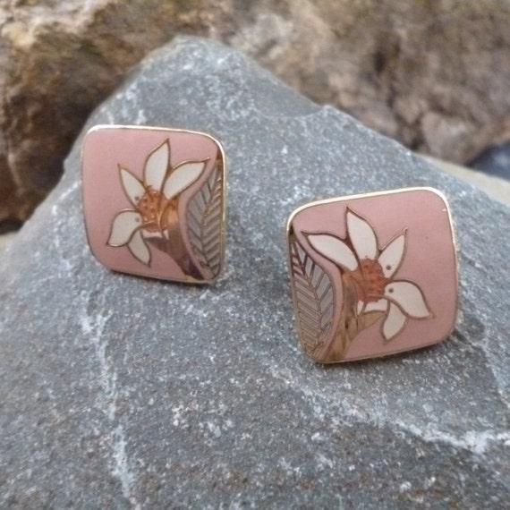Artist Creator Laurel Burch Vintage Wild Lily Clip On Pink Enamel Earrings