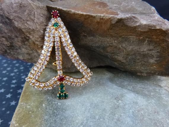 Open Style Sleek Modern Draping Rhinestone Christmas Tree Vintage Pin