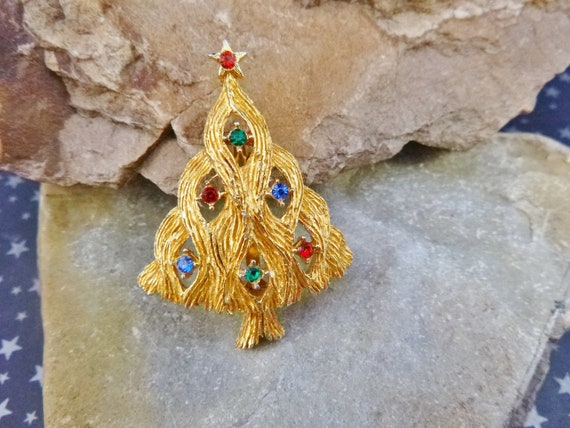 Wavy Branch Christmas Tree Vintage Brooch with Multi Colored Rhinestones | JJ Signed Pin Book Piece