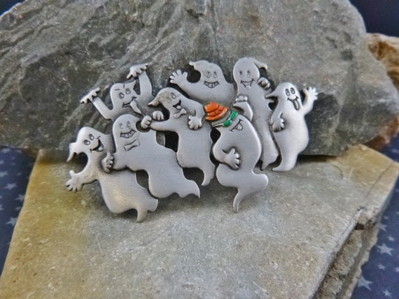 Halloween Ghosts Partying | Whimsical Not Spooky Halloween JJ (Jonette) Vintage Large Pewter Pin circa l980s