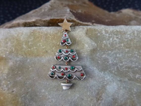 Small Articulated Pewter Christmas Tree Red and Green Vintage Tack Pin Signed JJ (Jonette)