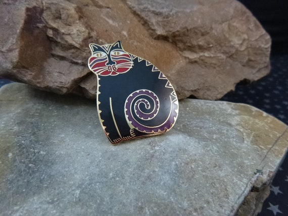 """Signed Laurel Burch """"Mythical Cat"""" Whimsical Enamel Pin or Pendant"""