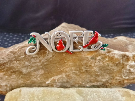Noel Christmas Vintage Brooch with Red Cardinals | JJ (Jonette) Vintage Pewter Holiday Pin