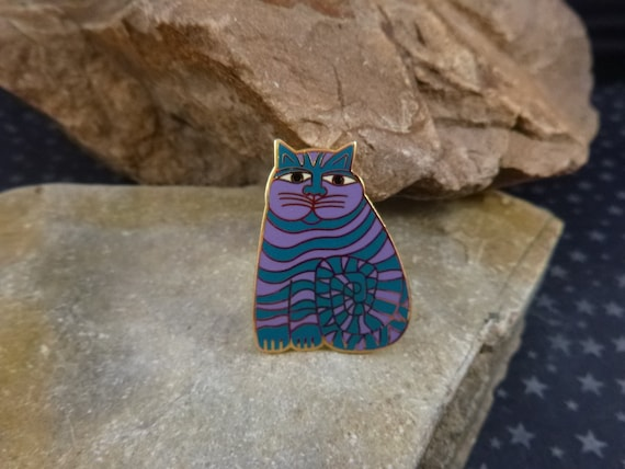 """Laurel Burch """"Shambala"""" Whimsical Fat Cat Brooch   Teal and Purple Kitty Cat Vintage Pin"""