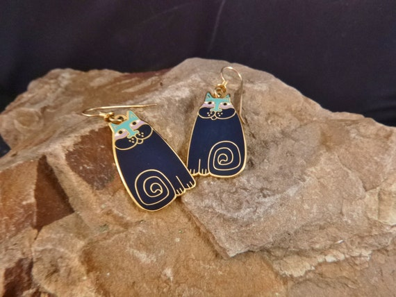 "Laurel Burch ""Olivia"" Cute Cat Vintage Drop Pierced Earrings with French Wires"