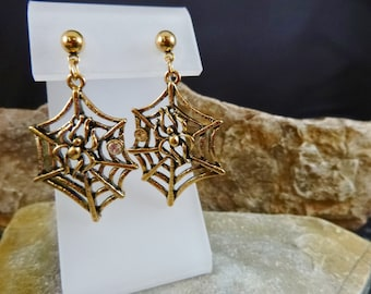 Halloween Spider Web Vintage Dangling Earrings | 1992 Avon Rarely Found Spooky Post Earrings | Book Piece with Original Box