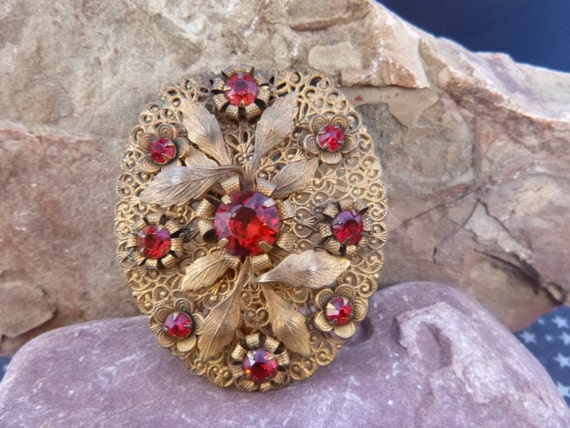 1920-30s Large Dress Clip | Ruby Red Faceted Prong Set Glass Stones | Layered Filigree Gold over Brass Intricate Floral Vintage Clip