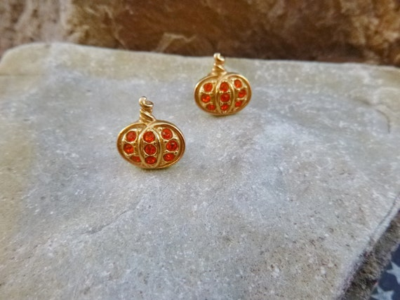 1993 Avon Precious Pumpkin Small Orange Rhinestone Pierced Halloween and Fall Harvest Earrings | Book Piece