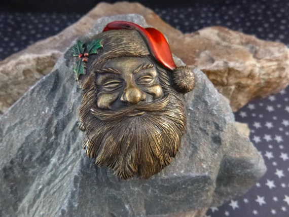 Old Fashioned Santa Brooch | Large Brass and Enamel Signed JJ (Jonette) Vintage Christmas Pin | Timeless Classic Santa Claus Pin