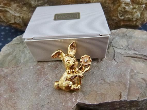 "Easter Bunny Vintage Pin | 1992 Avon ""Honey Bunny"" in Original Box | Spring Lapel, Hat or Bag Tack Pin"