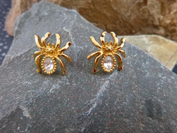 Halloween Itsy Bitsy Crystal Spider Pierced Earrings 1994 Avon Rarely Found Spooky Post Earrings Book Piece