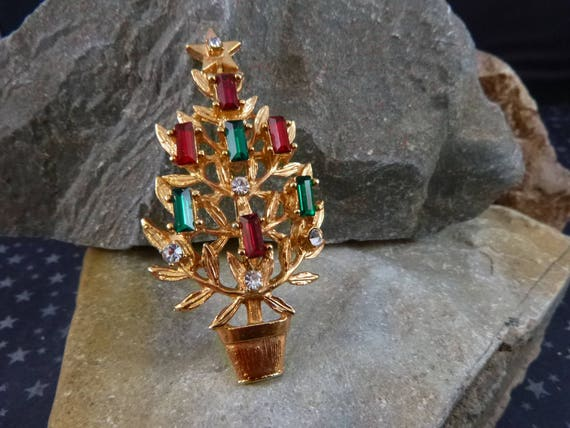 Red and Green Baguette Seven Candle Christmas Plant in Large Pot Vintage Brooch | Unsigned Christmas Tree Beauty Book Piece