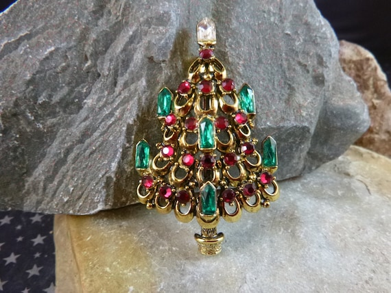 Signed Hollycraft Christmas Tree Vintage Pin - Seven Candles with Green Navettes and Red Rhinestone Ornaments - Victorian Flair Book Piece