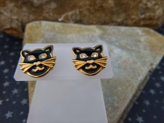 Black Cat Vintage Earrings | Halloween Precious Cat 1992 Avon Earrings | Rarely Found Black Cat Post  Earrings in Original Box Book Piece