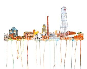 Durham Skyline 12x18 * North Carolina art