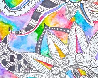 Rainbow Doodle Watercolor Print- 9x12.5