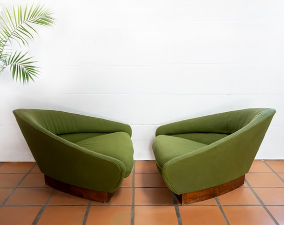 MidCentury Vintage  Wieland Triangle Geometric Green Chairs by O.B. Soil MCM