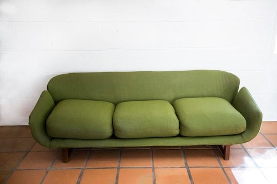 Mid Century Modern Green  Vintage Wieland Sofa by O.B. Solid w/ Curbed Arms MCM