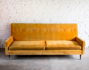 Etonnant Vintage MCM Orange Velvet Sofa Couch Settee Peg Leg