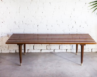 Attrayant Mid Century Vintage Wood Slat Bench OttomanCoffee Table