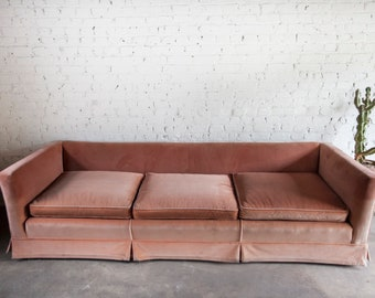 Vintage Mid Century Modern Coral Pink Velvet Sofa Couch Low Profile MCM