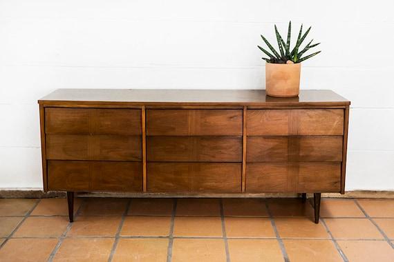 Mid-Century Modern Vintage  Ward Danish Style 9 Drawer Dresser MCM