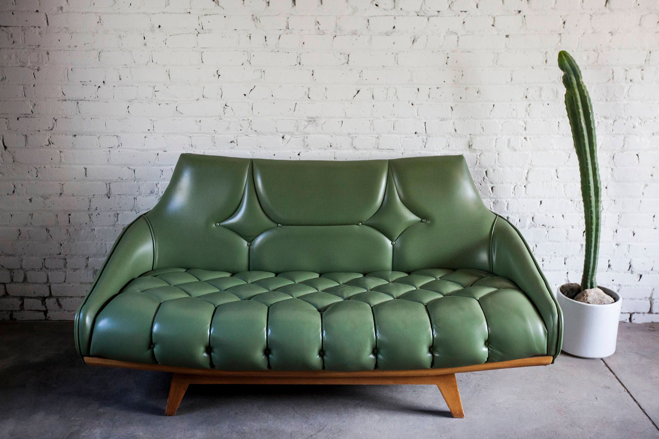 Awe Inspiring Mid Century Green Vinyl Adrian Pearsall Style Loveseat Sofa Onthecornerstone Fun Painted Chair Ideas Images Onthecornerstoneorg