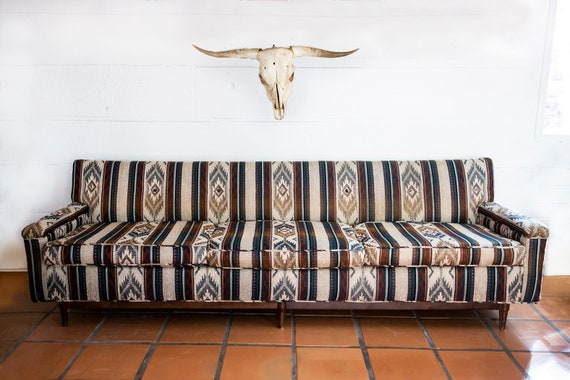 MidCentury Modern Southwest Aztec Sofa Couch Peg Leg*SALE Until 4/1*